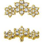 3-Flower Garland Threaded Stud Earring, 18k Yellow Gold