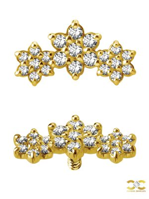 3-Flower Garland Threaded Stud Earring, 18k Yellow Gold