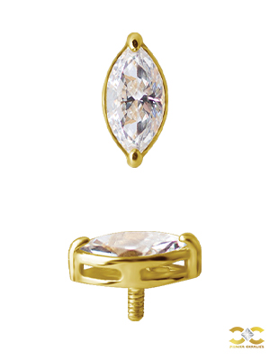 Yellow Gold Prong Single Marquise Stud
