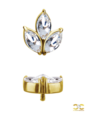18k Yellow Gold Marquise Lotus Stud