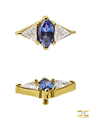 18k Yellow Gold Marquise w Triangles Stud