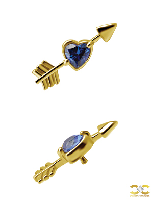 18k Yellow Gold Love Heart Arrow Royal Blue Topaz Stud