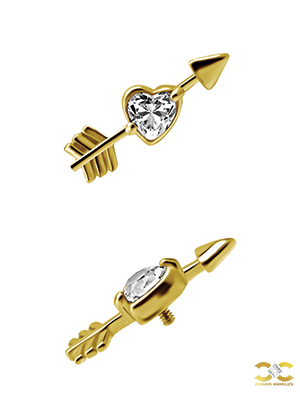 Yellow Gold Love Heart Arrow Stud