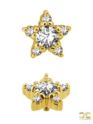 18k Yellow Gold 5mm Pave Star Stud