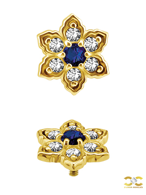 18k Yellow Gold Flower w Royal Blue Topaz Centre Stud