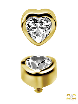 18k Yellow Gold Love Heart Gem Stud