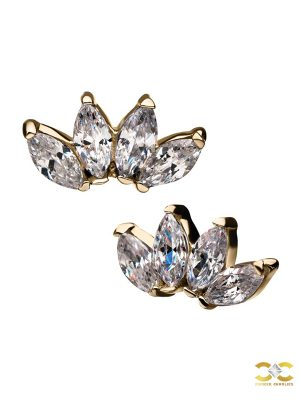 4-Marquise Cluster Threaded Stud Earring, 14k Yellow Gold