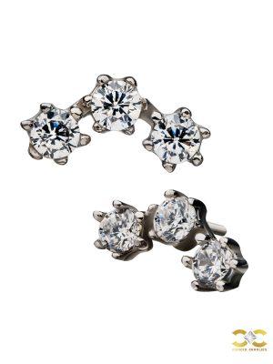 3-Gem Cluster Push-In Stud Earring, 14k White Gold