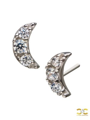 Pave Moon Push-In Stud Earring, 14k White Gold