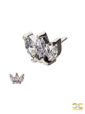 3-Marquise Push-In Stud Earring, 14k White Gold
