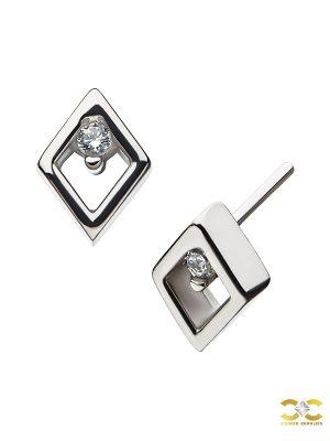 Diamond Shape Push-In Stud Earring