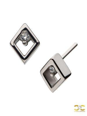 Diamond Shape Push-In Stud Earring, 14k White Gold