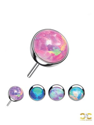 Created Opal Push-In Stud Earring, Titanium
