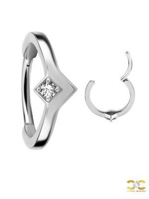 Gem Tiara Clicker Earring, Conch Ring, Steel