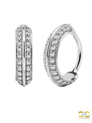 Double Sided Eternity Clicker Earring, Conch Ring, Steel