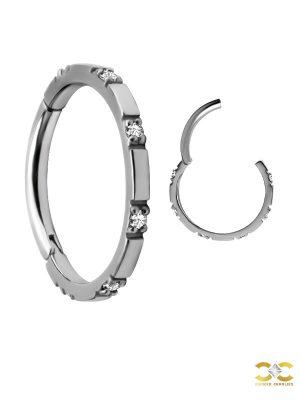 6-Gem Clicker Earring, Conch Ring, Steel