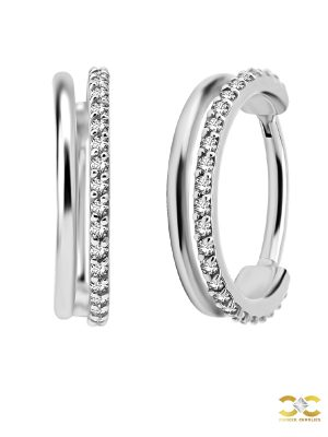 Double Band Eternity Clicker Earring, Conch Ring, Steel