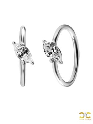 Single Marquise Clicker Earring, Angled, Conch Ring, Steel