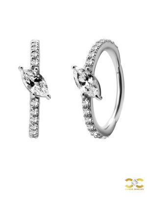 Single Marquise Eternity Clicker Earring, Conch Ring, Steel