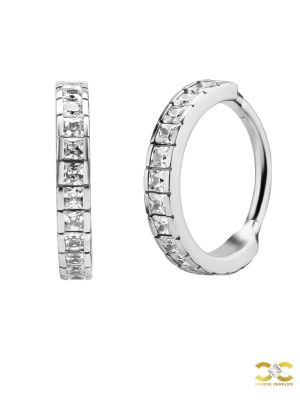 Square CZ Eternity Clicker Earring, Conch Ring, Steel