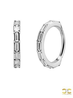 Baguette CZ Eternity Clicker Earring, Conch Ring, Steel