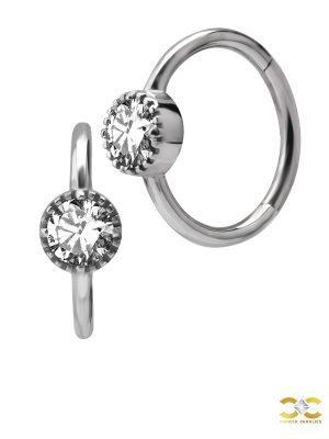 Bezel Set CZ Clicker Earring, Conch Ring, Steel