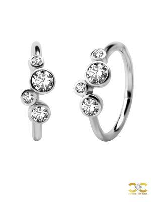 4-Bezel Set CZ Clicker Earring, Conch Ring, Steel