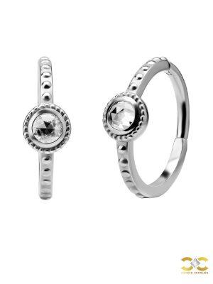 Rose Cut CZ Clicker Earring, Conch Ring, Steel