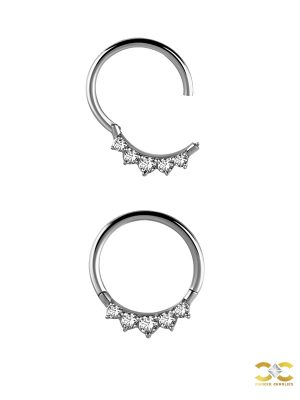 5-Gem Daith Clicker Earring, Steel, 8mm - 10mm