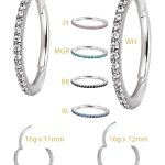 Steel Swarovski® Zirconia Pave Ring Clicker, 16g, Conch