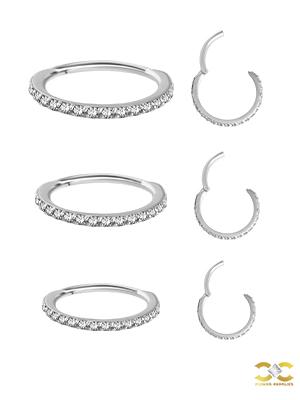 Steel Swarovski® Zirconia Pave Ring Clicker, 18g