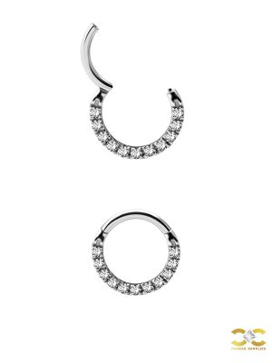 Pave Daith Clicker Earring, Steel