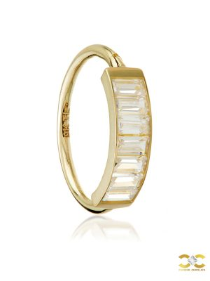 Baguette Conch Clicker Earring, 14k Yellow Gold, 12mm