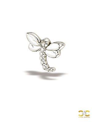 BodyGems Dragonfly Push-In Stud Earring, 14k White Gold
