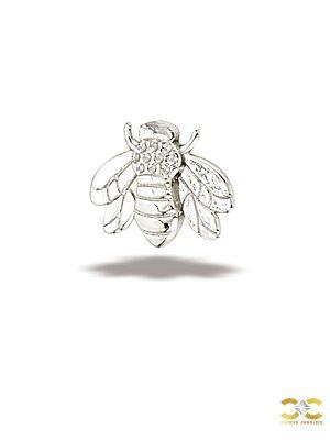 BodyGems Bee Threaded Stud Earring, 14k White Gold