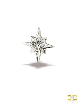 BodyGems Northern Star Threaded Stud Earring, 14k White Gold
