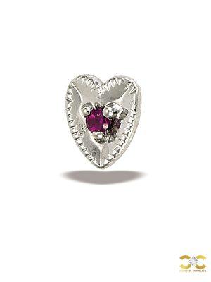 BodyGems Garnet Heart Push-In Stud Earring, 14k White Gold