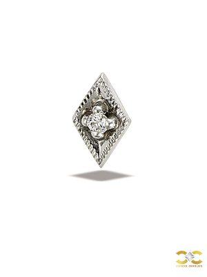 BodyGems Gem Rhombus Push-In Stud Earring, 14k White Gold