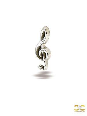 BodyGems Music Note Push-In Stud Earring, 14k White Gold