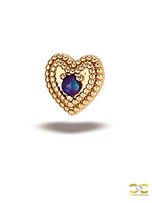 BodyGems Millgrain Heart Push-In Stud Earring, Purple Opal, 14k Rose Gold