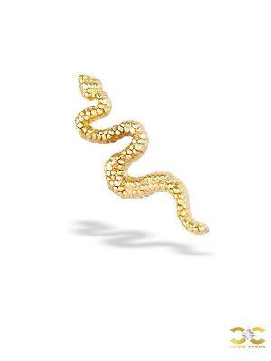 BodyGems Snake Push-In Stud Earring, 14k Yellow Gold