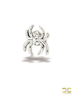 BodyGems Spider Push-In Stud Earring, 14k White Gold
