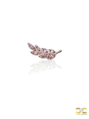 FoesJewelry Gem Feather Threaded Stud Earring, 14k Rose Gold