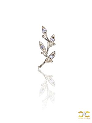 FoesJewelry Olive Branch Threaded Stud Earring, 14k Rose Gold