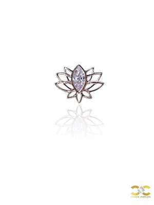 FoesJewelry Lotus Threaded Stud Earring, 14k Rose Gold