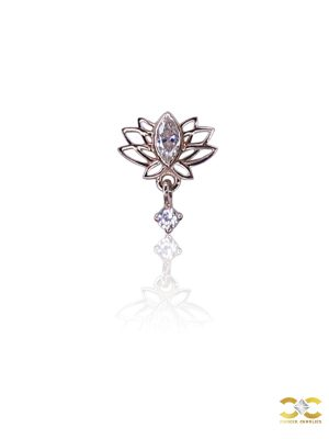 FoesJewelry Spring Lotus Threaded Stud Earring, 14k Rose Gold