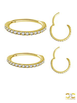 18k Yellow Gold Swarovski® Zirconia Pave Ring Clicker, 18g, Medium
