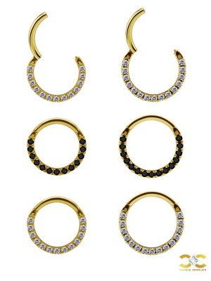 Pave Daith Clicker Earring, 18k Yellow Gold, Medium