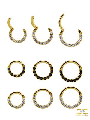 Pave Daith Clicker Earring, 18k Yellow Gold, Small