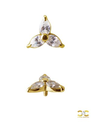 Pear Trinity Threaded Stud Earring, 18k Yellow Gold